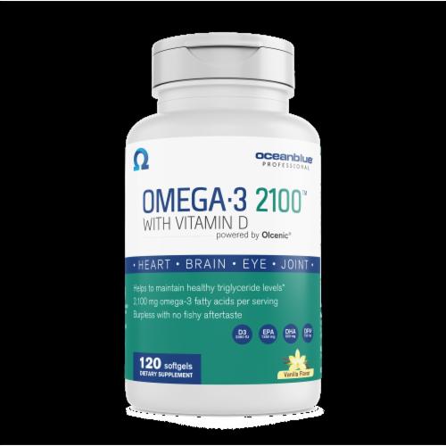 Oceanblue Omega-3 2100 Vitamin D 2000IU Softgels 120 Count Perspective: front