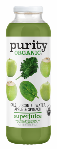 Purity.Organic Kale Coconut Water Apple & Spinach Superjuice Perspective: front