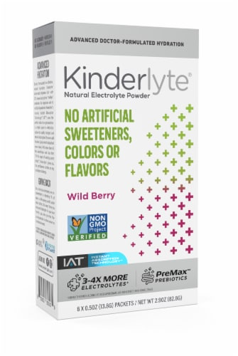Kinderlyte Wild Berry Electrolyte Powder 6 Count Perspective: front