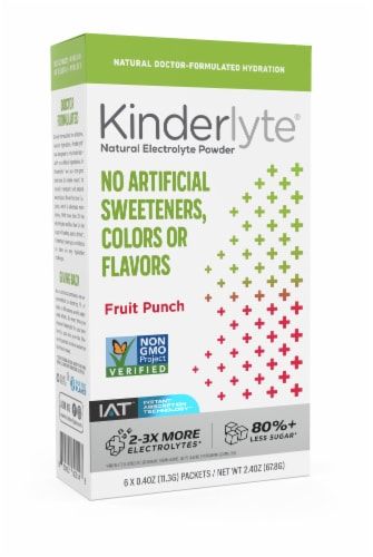 Kinderlyte Fruit Punch Natural Electrolyte Powder 6 Count Perspective: front