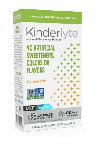 Kinderlyte Lemonade Electrolyte Powder Packs 6 Count Perspective: front