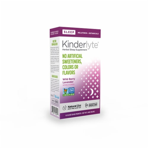Kinderlyte Wild Berry Lavender Flavor Herbal Sleep Supplement Perspective: front