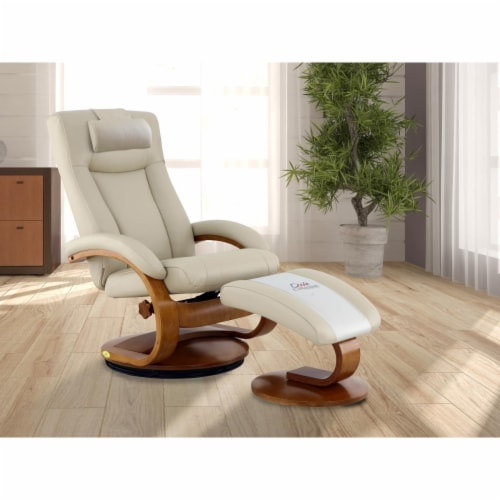 Relax-R HAMILTON054097PL Hamilton Recliner & Ottoman with Pillow in Beige Air Leather Perspective: front