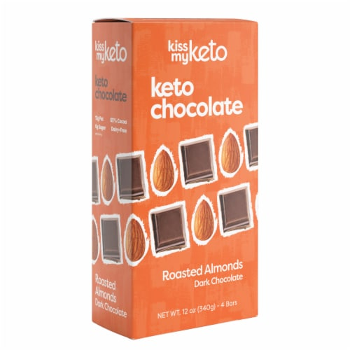 Kiss My Keto Dark Chocolate Almond Bars Perspective: front