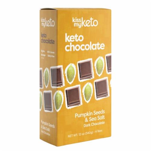 Kiss My Keto Dark Chocolate Pumpkin Seed & Sea Salt Bars Perspective: front
