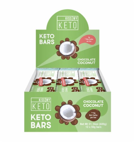 Kiss My Keto Chocolate Coconut Ketogenic Bar Perspective: front