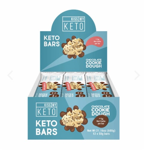 Kiss My Keto Chocolate Cookie Dough Keto Bars Perspective: front