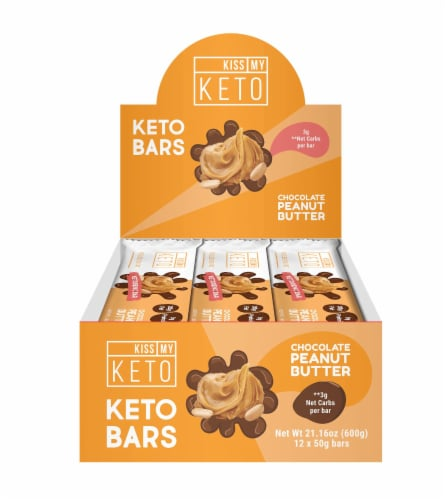 Kiss My Keto Chocolate Peanut Butter Keto Bars Perspective: front