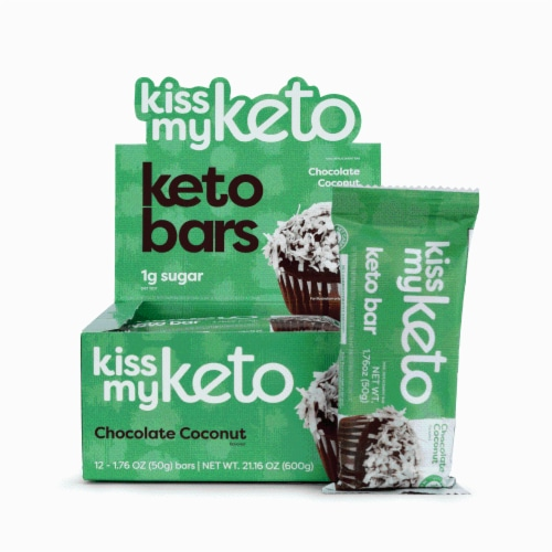 Kiss My Keto Chocolate Coconut Keto Bars Perspective: front