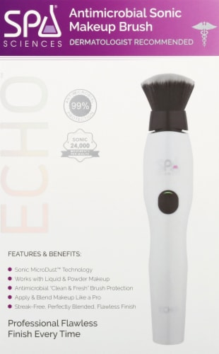 Spa Sciences Echo Antimicrbial Sonic Makeup Brush - White Perspective: front