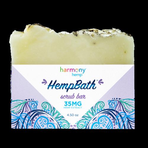 Harmony Hemp HempBath Lavendar Oats Scrub Bar 35 mg AVAILABILITY LIMITED TO PHARMACY HOURS Perspective: front