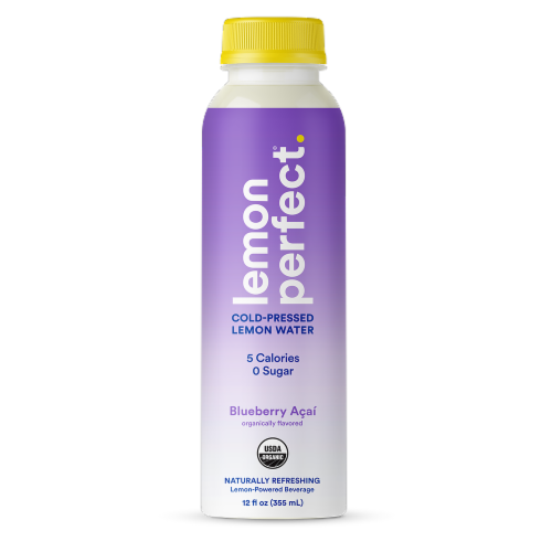 Lemon Perfect Blueberry Acai Cold-Pressed Lemon Water Perspective: front