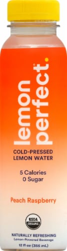 Lemon Perfect® Organic Peach Raspberry Cold-Pressed Lemon Water Perspective: front