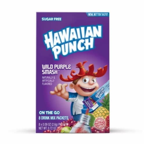 Hawaiian Punch® Sugar Free Wild Purple Smash Powdered Drink Mix Packets Perspective: front