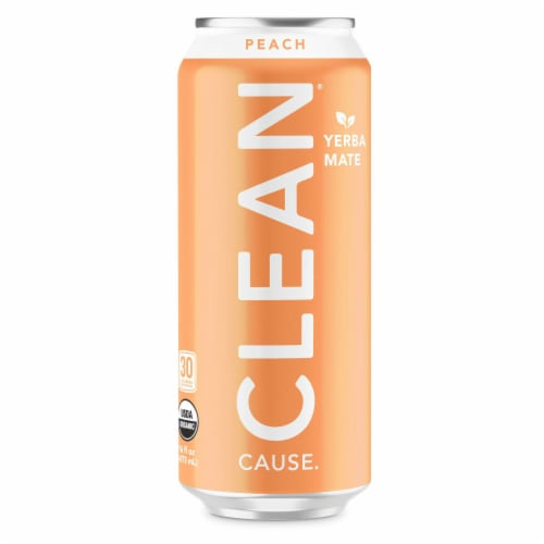 Clean Cause Peach Sparkling Yerba Mate Energy Drink Perspective: front