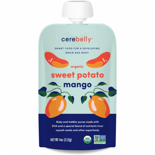 Cerebelly Organic Sweet Potato Mango Baby and Toddler Baby Food Perspective: front