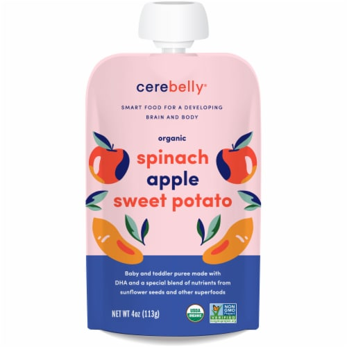 Cerebelly Organic Spinach Apple Sweet Potato Baby and Toddler Baby Food Perspective: front
