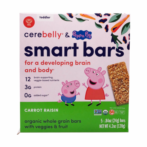 Cerebelly® Organic Carrot Raisin Smart Bars Snack Bars Perspective: front