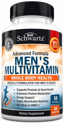 BioSchwartz Mens Whole Body Health Multivitamin Capsules Perspective: front