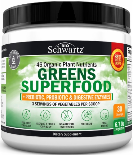 BioSchwartz Greens Superfood Dietary Supplement Perspective: front