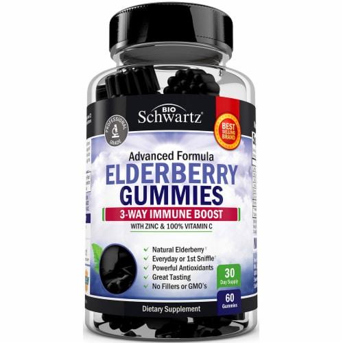 BioSchwartz Elderberry 3-Way Immune Boost Gummies Perspective: front