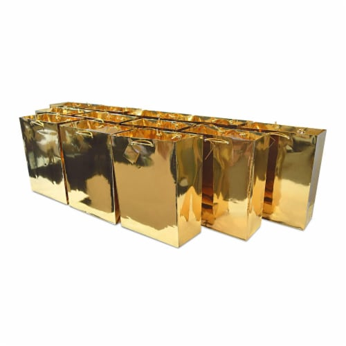 Medium Metallic Gold Paper Gift Bags with Handles & Hangtag, Premium Quality Party Favor Bags Perspective: front