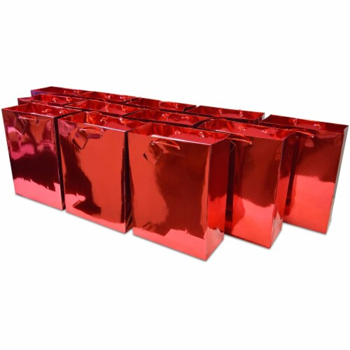 Red Foil Gift bags with Handles, Designer Solid Red Paper Gift Wrap Bags Perspective: front