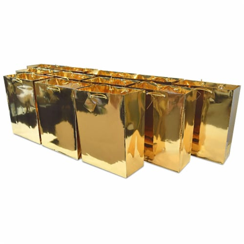 Gold Foil Gift bags with Handles, Designer Solid Gold Paper Gift Wrap Bag Perspective: front