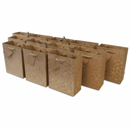 Designer Gift Bags with Handles, Gold Geometric Chevron, Stripe Prints with Jute Handles Perspective: front