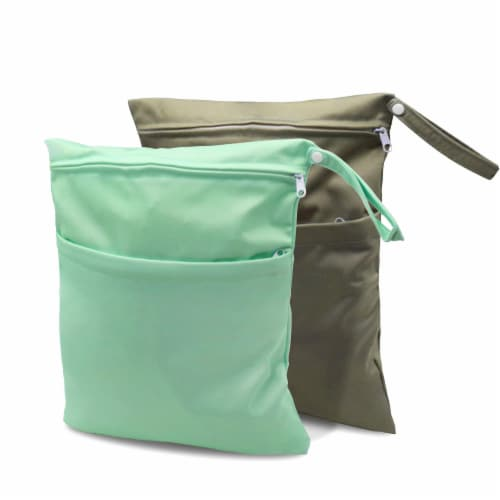 Cloth Diaper Wet Dry Bags with Two Zippered Pockets, Waterproof & Reusable Perspective: front