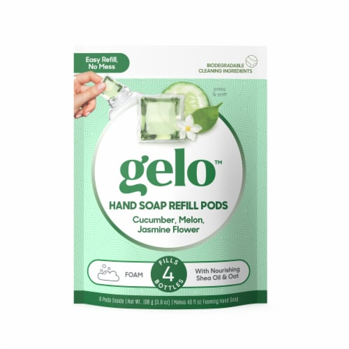 Gelo Cucumber Melon Jasmine Flower Foaming Hand Soap Refill Pods Perspective: front