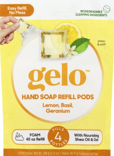 Gelo Lemon Basil Geranium Foaming Hand Soap Refill Pods Perspective: front