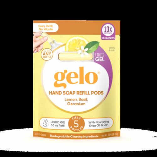 Gelo Cucumber Lemon Basil Geranium Gel Hand Soap Refill Pods Perspective: front