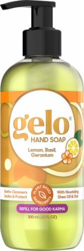 Gelo Lemon Basil & Geranium Liquid Gel Hand Soap Perspective: front