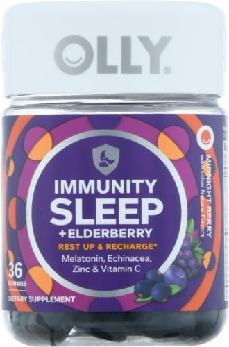 Olly Immunity Sleep + Elderberry Midnight Berry Gummies 36 Count Perspective: front