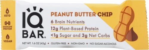 IQ Bar Peanut Butter Chip Protein Bar Perspective: front
