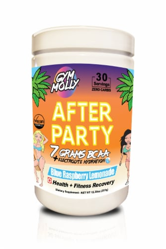 Gym Molly® After Party With Energy Blue Raspberry Lemonade Health + Fitness Recovery Perspective: front