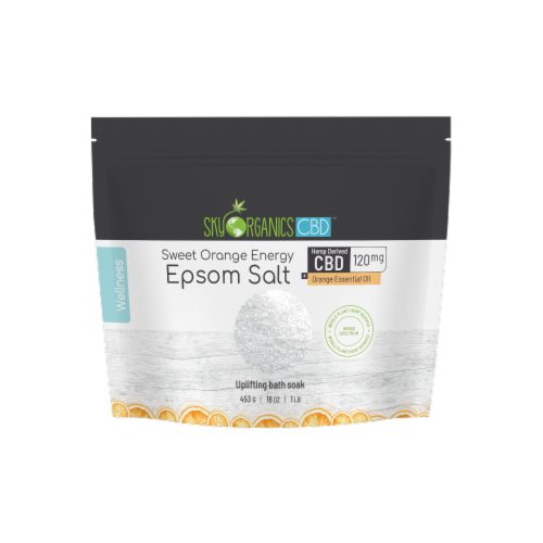 Sky Oganics Sweet Orange Energy Epsom Salt with CBD Perspective: front