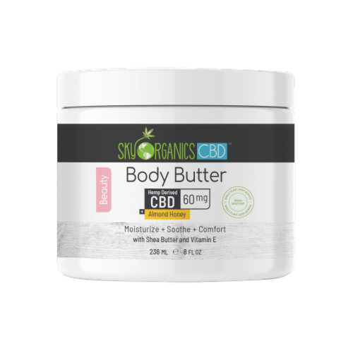 Sky Organics Almond Honey Body Butter with CBD Perspective: front