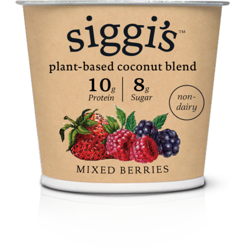 Siggi's Mixed Berries Plant Based Coconut Blend Yogurt Perspective: front