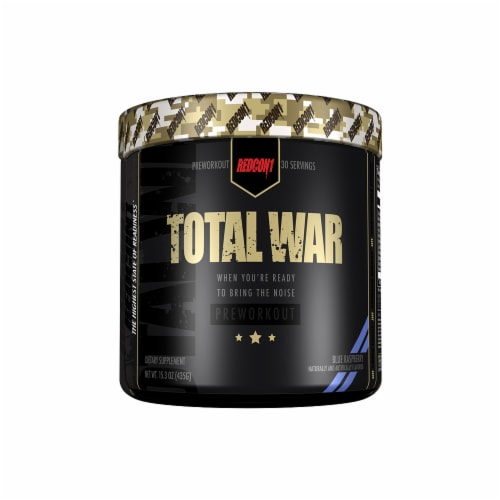 Redcon1 Total War Blue Raspberry Preworkout Dietary Supplement Perspective: front