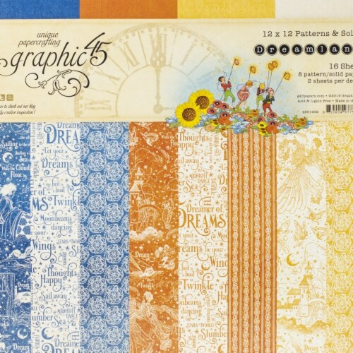 Graphic 45 Dreamland Paper Pad 12x12 Solid/Ptrn Perspective: front