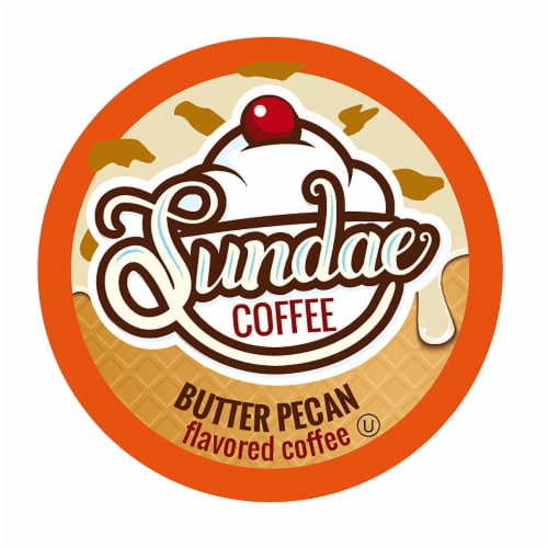 Sundae Ice Cream Flavored Coffee Pods, 2.0 Keurig K-Cup Compatible, Butter Pecan,48 Count Perspective: front