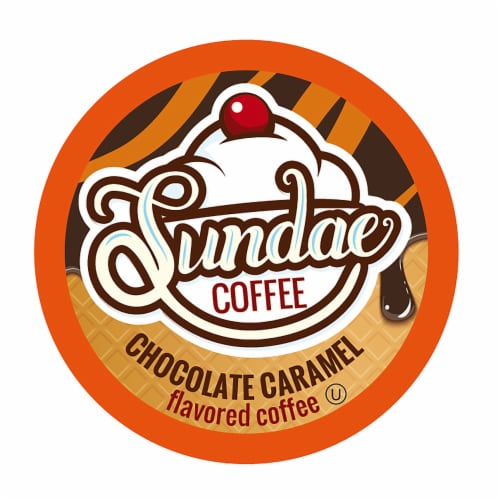 Sundae Ice Cream Flavored Coffee Pods for  2.0 Keurig, Chocolate Caramel, 48 Count Perspective: front