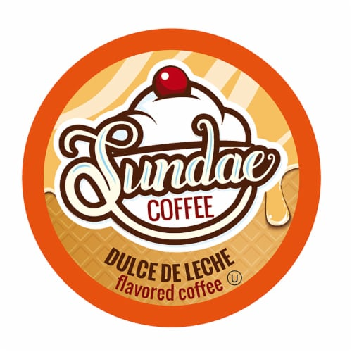 Sundae Ice Cream Flavored Coffee Pods, 2.0 Keurig K-Cup Compatible, Dulce de Leche, 48 Count Perspective: front
