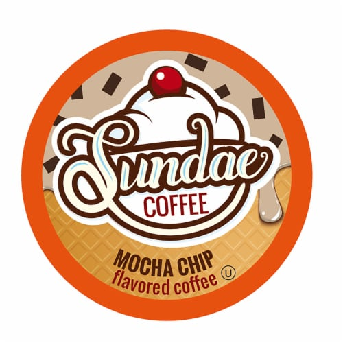Sundae Ice Cream Flavored Coffee Pods, 2.0 Keurig K-Cup Compatible, Mocha Chip, 48 Count Perspective: front
