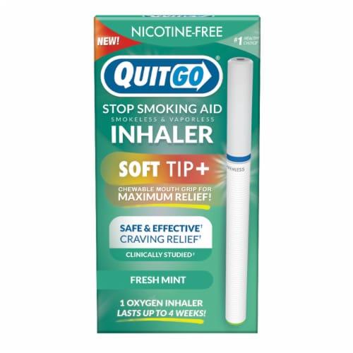 QuitGo Soft Tip Fresh Mint Inhaler Stop Smoking Aid Perspective: front