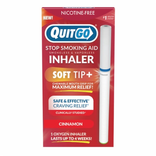 QuitGo Soft Tip Cinnamon Inhaler Stop Smoking Aid Perspective: front