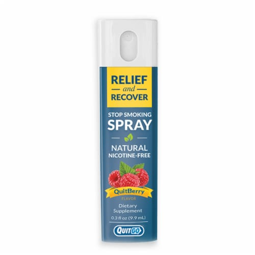 QuitGo QuitBerry Relief and Recover Stop Smoking Spray Perspective: front