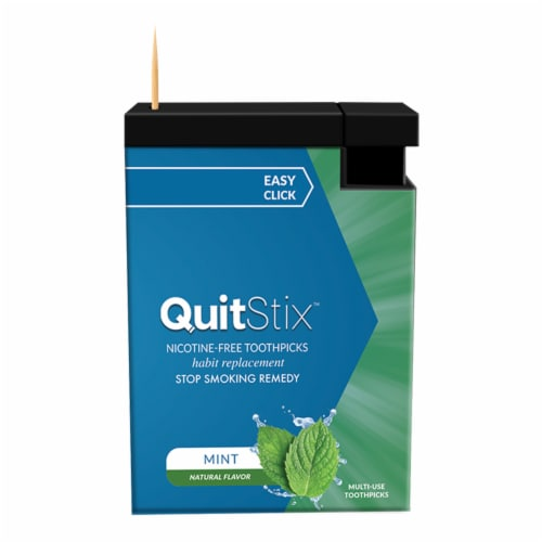 QuitStix Mint Stop Smoking Remedy Toothpicks with Dispenser Perspective: front